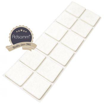 12 x Filzgleiter / 35x35 mm / Weiß / quadratisch / 3.5 mm starke selbstklebende Filz-Möbelgleiter in Top-Qualität
