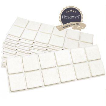 120 x Filzgleiter / 35x35 mm / Weiß / quadratisch / 3.5 mm starke selbstklebende Filz-Möbelgleiter in Top-Qualität