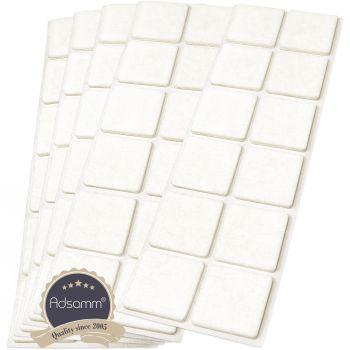 60 x Filzgleiter / 35x35 mm / Weiß / quadratisch / 3.5 mm starke selbstklebende Filz-Möbelgleiter in Top-Qualität