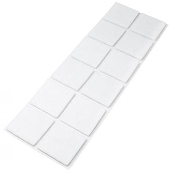 12 x Filzgleiter / 40x40 mm / Weiß / quadratisch / 3.5 mm starke selbstklebende Filz-Möbelgleiter in Top-Qualität