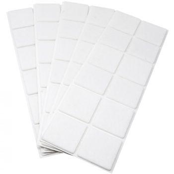 60 x Filzgleiter / 40x40 mm / Weiß / quadratisch / 3.5 mm starke selbstklebende Filz-Möbelgleiter in Top-Qualität