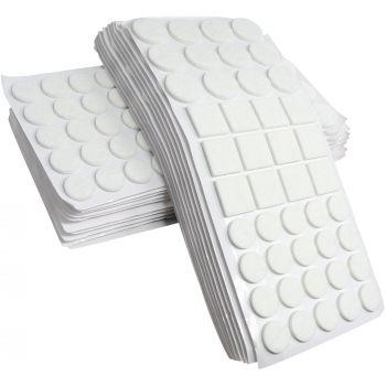 880 x Filzgleiter / Weiß / verschiedene Größen / Ø 28 mm / Ø 20 mm / 25x25 mm / 3.5 mm starke selbstklebende Filz-Möbelgleiter in Top-Qualität