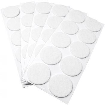 50 x Filzgleiter / Ø 45 mm / Weiß / rund / 3.5 mm starke selbstklebende Filz-Möbelgleiter in Top-Qualität