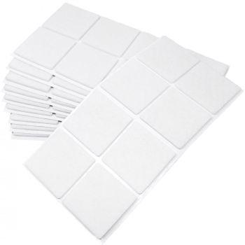 80 x Filzgleiter / 50x50 mm / Weiß / quadratisch / 3.5 mm starke selbstklebende Filz-Möbelgleiter in Top-Qualität