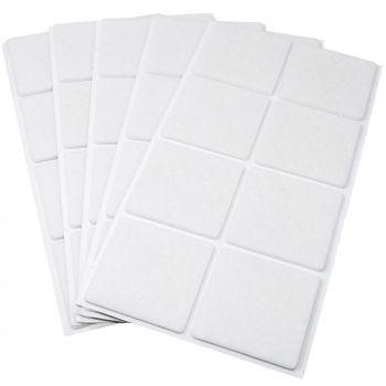 40 x Filzgleiter / 50x50 mm / Weiß / quadratisch / 3.5 mm starke selbstklebende Filz-Möbelgleiter in Top-Qualität