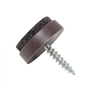100 x Filzgleiter mit Schraube | Ø 20 mm | Braun | rund | Möbelgleiter zum Schrauben in Premium-Qualität von Adsamm®