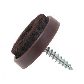 100 x Filzgleiter mit Schraube | Ø 24 mm | Braun | rund | Möbelgleiter zum Schrauben in Premium-Qualität von Adsamm®