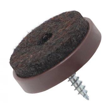 100 x Filzgleiter mit Schraube | Ø 28 mm | Braun | rund | Möbelgleiter zum Schrauben in Premium-Qualität von Adsamm®
