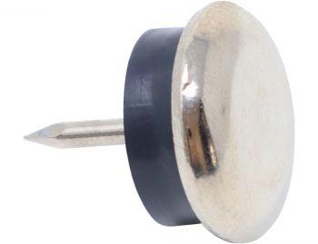 100 x Metallgleiter mit Puffer und Nagel | Ø 18 mm | Silber | rund | Möbelgleiter mit Stift in Premium-Qualität von Adsamm®