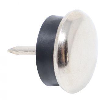 100 x Metallgleiter mit Puffer und Nagel | Ø 20 mm | Silber | rund | Möbelgleiter mit Stift in Premium-Qualität von Adsamm®
