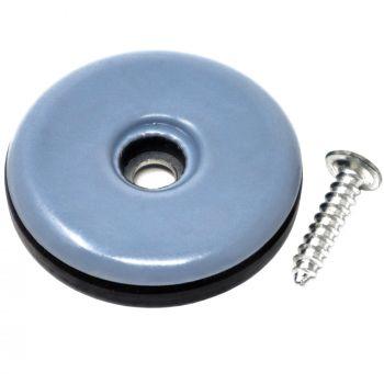 PTFE-Gleiter mit Schraube | Ø 38 mm | Grau-Blau | rund | Möbelgleiter mit Schraube in Premium-Qualität von Adsamm®